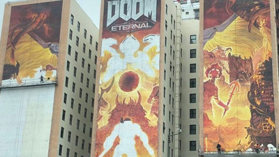 There's a Doom Eternal mural going up on the Hotel Figueroa and it looks dope as hell