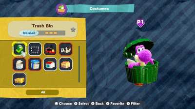 Yoshi's Crafted World: How to Unlock Trash Bin Costume