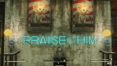 Inside The Fallout 76 Church That Worships Mr. Pebbles, The First Cat To Go To Space